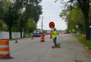 Construction on a gas line has made traversing North Pierce Avenue more challenging