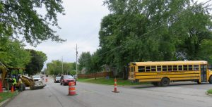 A school bus turns off of North Pierce Avenue at the 300 block last week