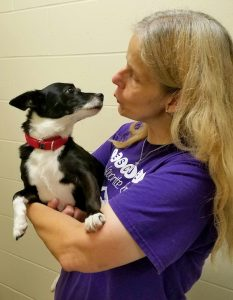 """Rachel Garcia gives special attention to """"Muffin"""", a dog she is currently caring for at the Humane Society of North Iowa shelter"""