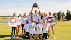 (School) Name, competes on  Day 1 of the 2016 Big 12 Womens Rawls Golf Course, Lubbock, TX