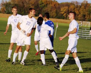 Photo of Aaron Blanchard after he scored the Trojans' fourth goal in Wednesday's home soccer match against Hawkeye CC. Photo by NIACC sports information director Kirk Hardcastle.