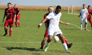 Photo: NIACC's Khaliyl Hanson battles for the ball during Saturday's soccer match against Northeast CC. Photo by NIACC sports information director Kirk Hardcastle.